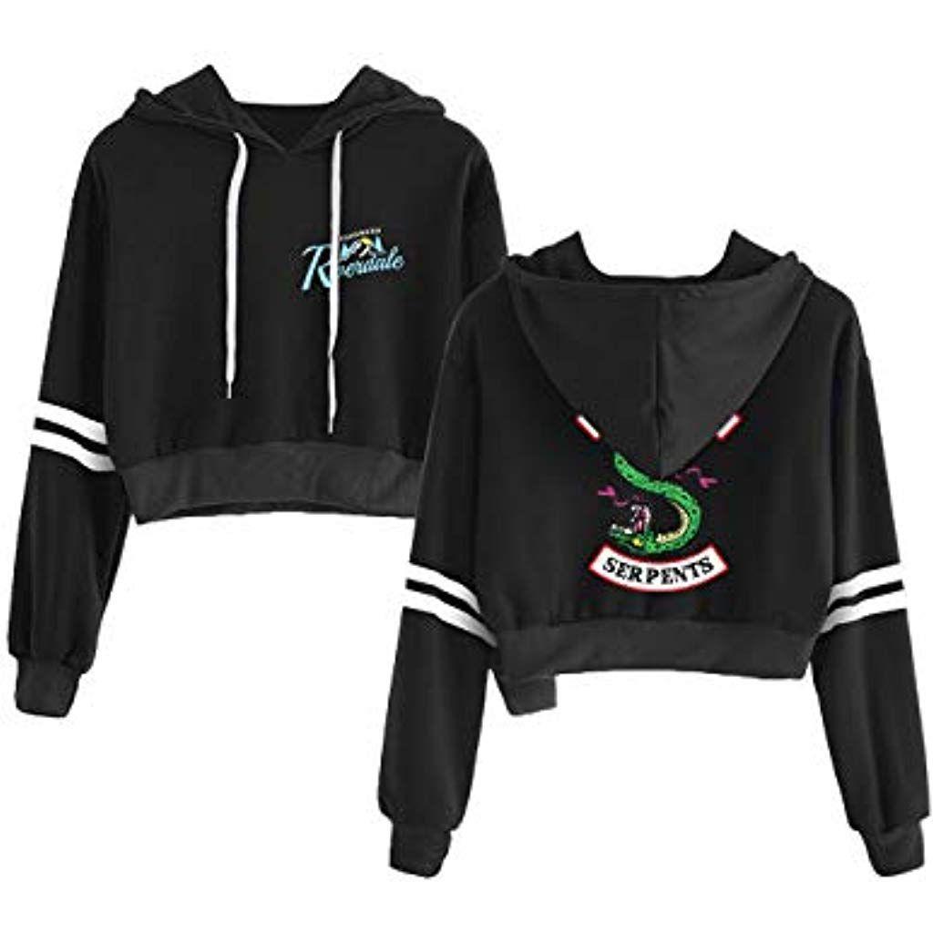 Riverdale Southside Serpents Jacke Damen, Teenager Mädchen Mode Lederjacke Coole Leder Pullover Frauen Slim Fit Sweatshirt Bauchfreier Pulli Kurz Crop