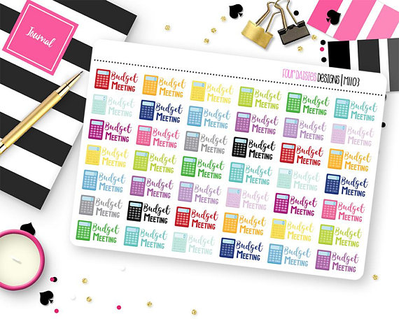 42 Budget Meeting Planner Stickers for Erin Condren Life Planner