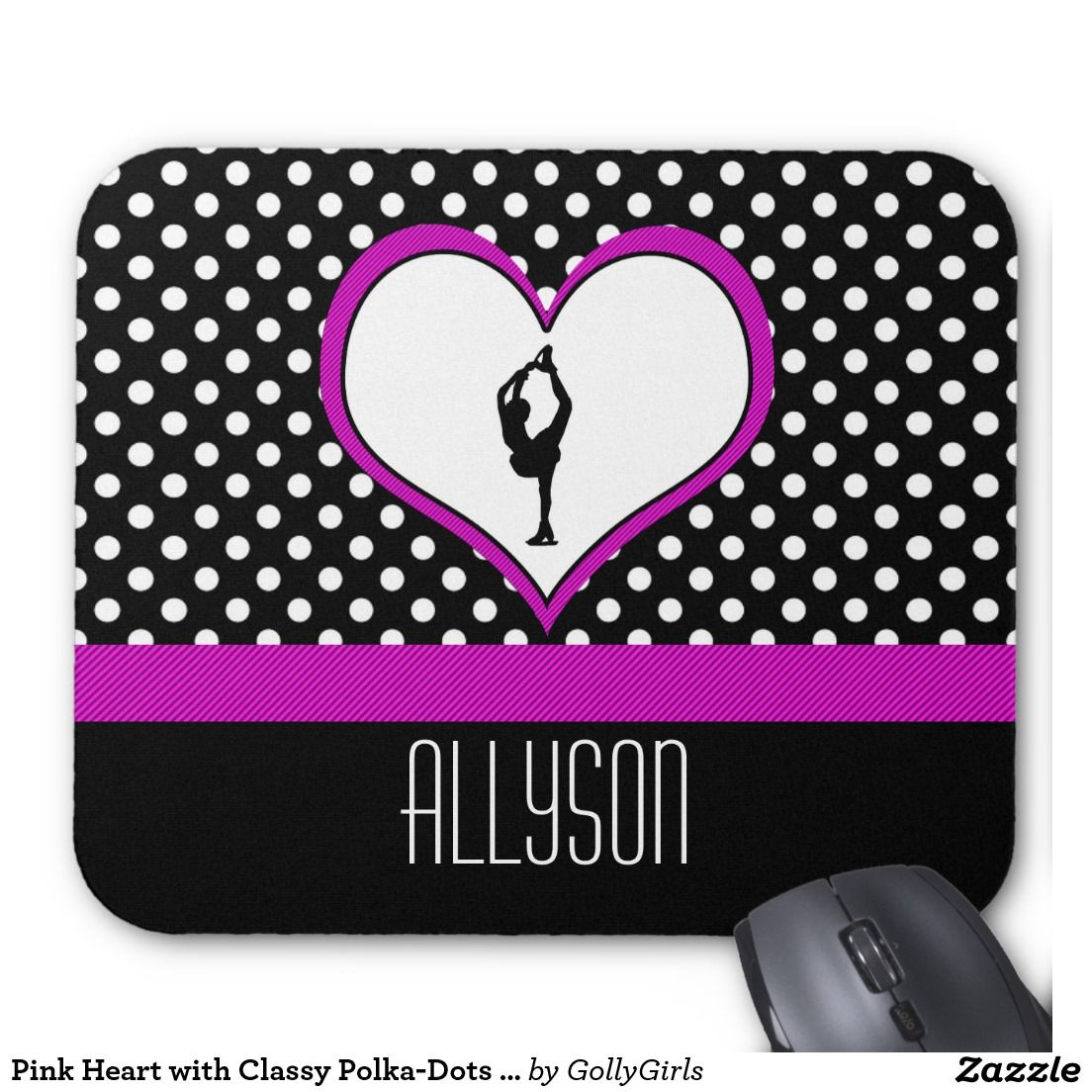 Pink Heart with Classy Polka-Dots Figure Skating Mouse Pad