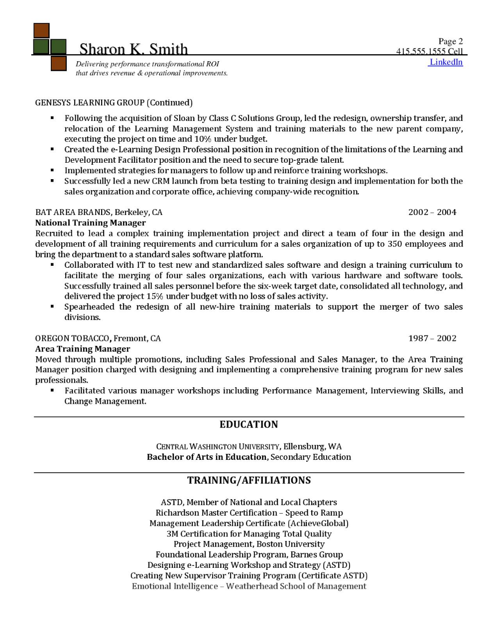 Instructional Designer Pg 2 Resume services, Executive