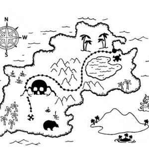 Captain Hook Treasure Map Coloring Page Kids Play Color Peter