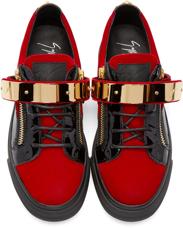 aaaf71bd88f90 Giuseppe Zanotti SSENSE Exclusive Red Velour London Low-Top Sneakers ...