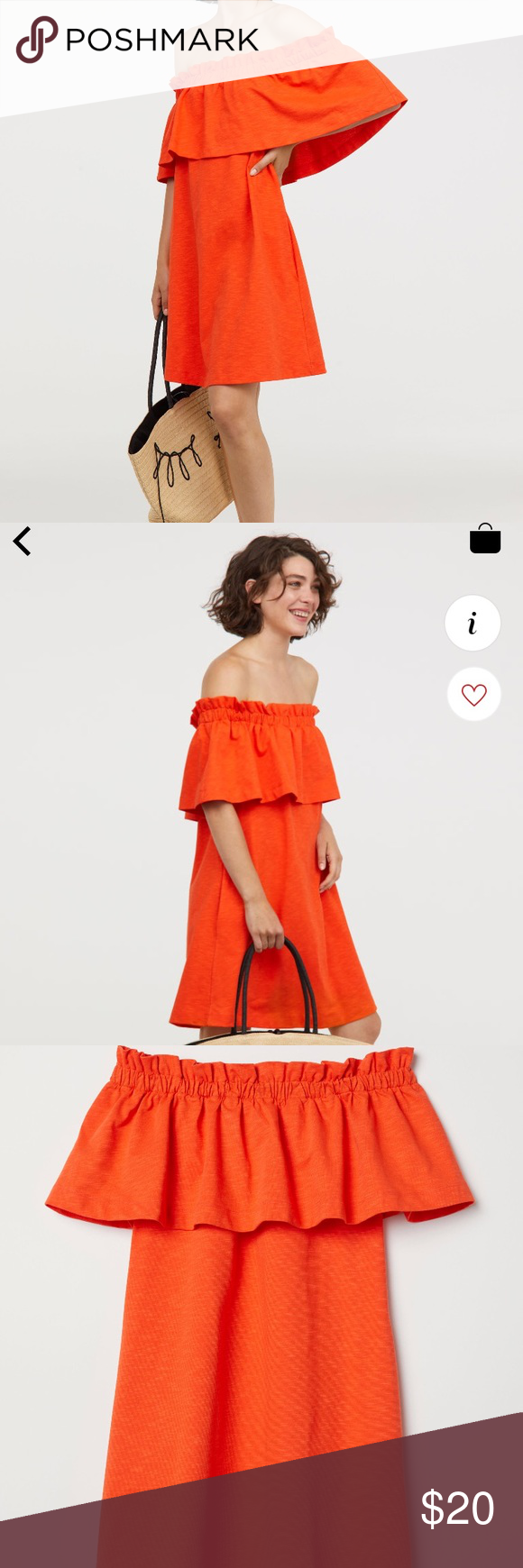 a43216562c12 H&M Off The Shoulder Dress Orange Off The Shoulder Dress. Only worn once,  brand new condition. H&M Dresses Mini