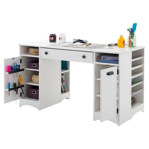 Artwork Craft Table With Storage   Pure White   South Shore | Pure White,  Work Surface And Storage