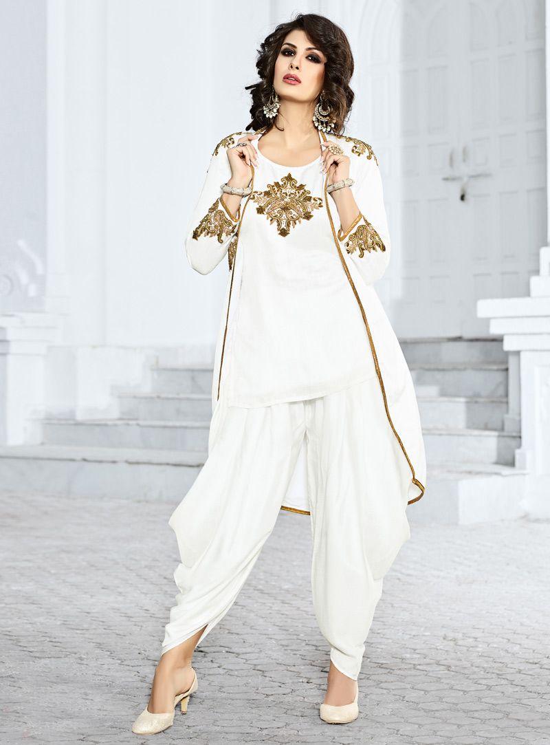 White Satin Readymade Dhoti Salwar Suit With Jacket 85149 | indian ...