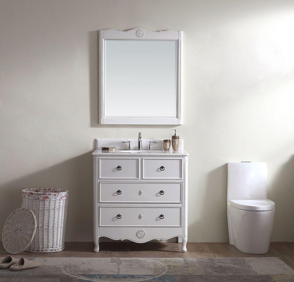 34 in. Cottage look Bathroom Sink Vanity & Mirror set, with Crystal ...