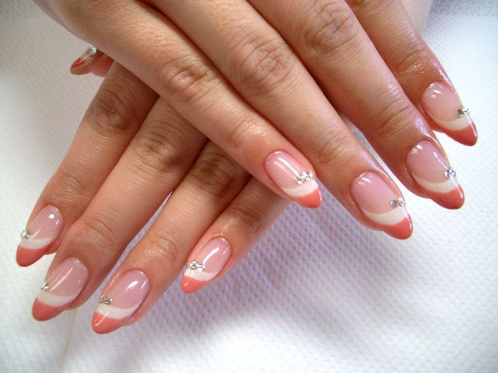 Peach-white french manicure with rhinestones :: one1lady.com ...