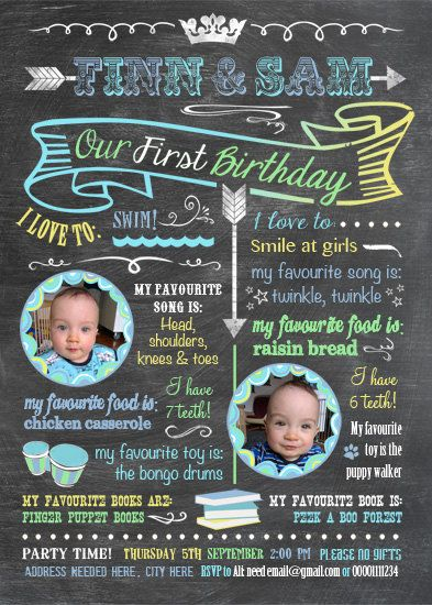printable twins firsts birthday invitation chalkboard look 5 x 7