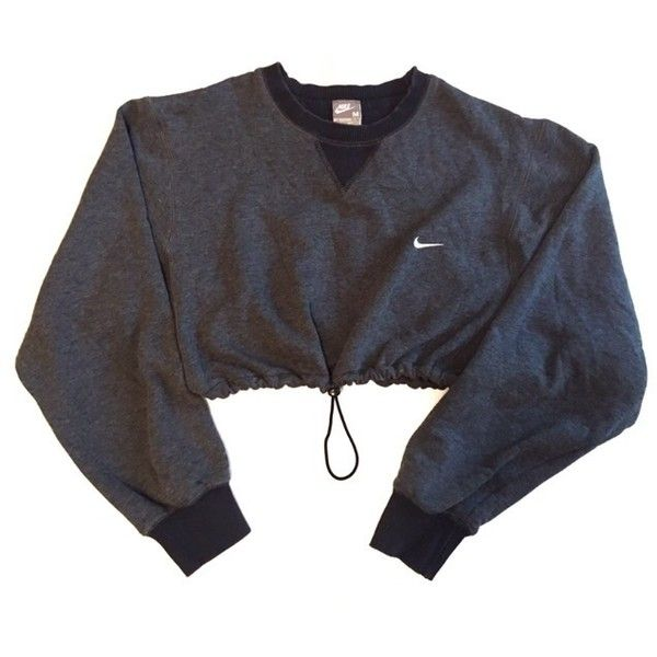 Reworked Nike Crop Sweatshirt Charcoal ($48) found on
