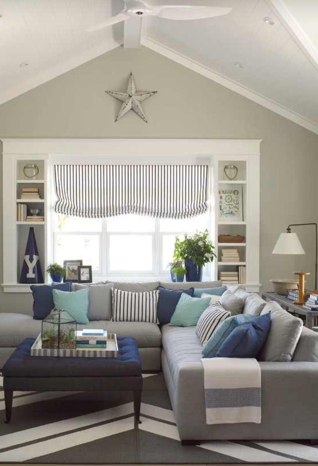 Grey Stripes Cottage Style Living Room Coastal Decorating