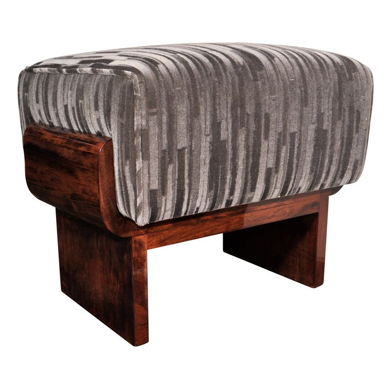 Art Deco Streamline Mahogany Bench with Gauffrage Mohair | From a unique collection of antique and modern footstools at http://www.1stdibs.com/furniture/seating/footstools/