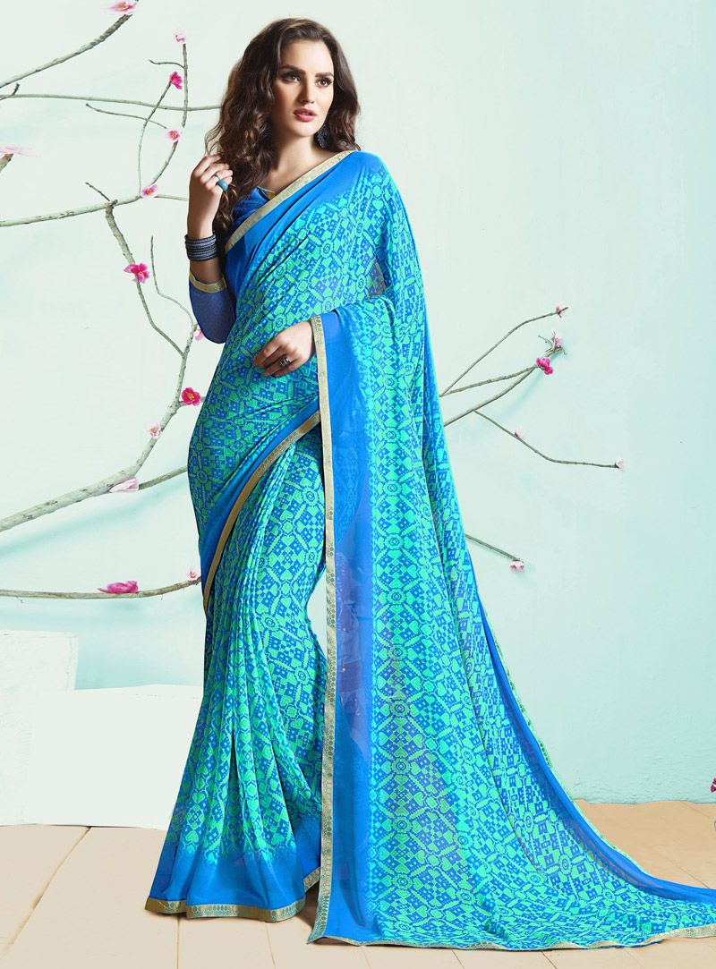 a87f41349 Sky Blue Georgette Printed Saree With Blouse 103896