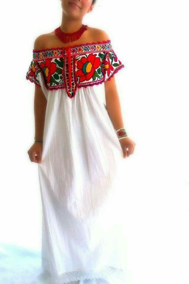 Mexican wedding dress. Hand embroidered design varies as each dress ...