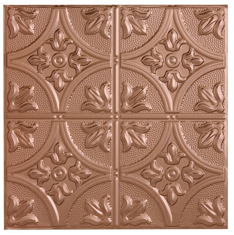 Metallaire Large Floral Circle Metallaire Collection Tin/Metal Metallic 2' x 4' Panel 5424309NCP by Armstrong