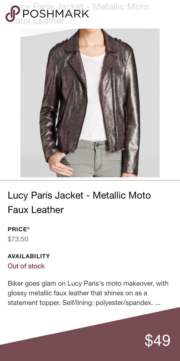52907c3a9 Lucy Paris Faux Leather Moto Metallic Biker Jacket New reposhed item ...