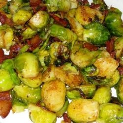 Roasted Brussels Sprouts with Bacon by tasteasyougo