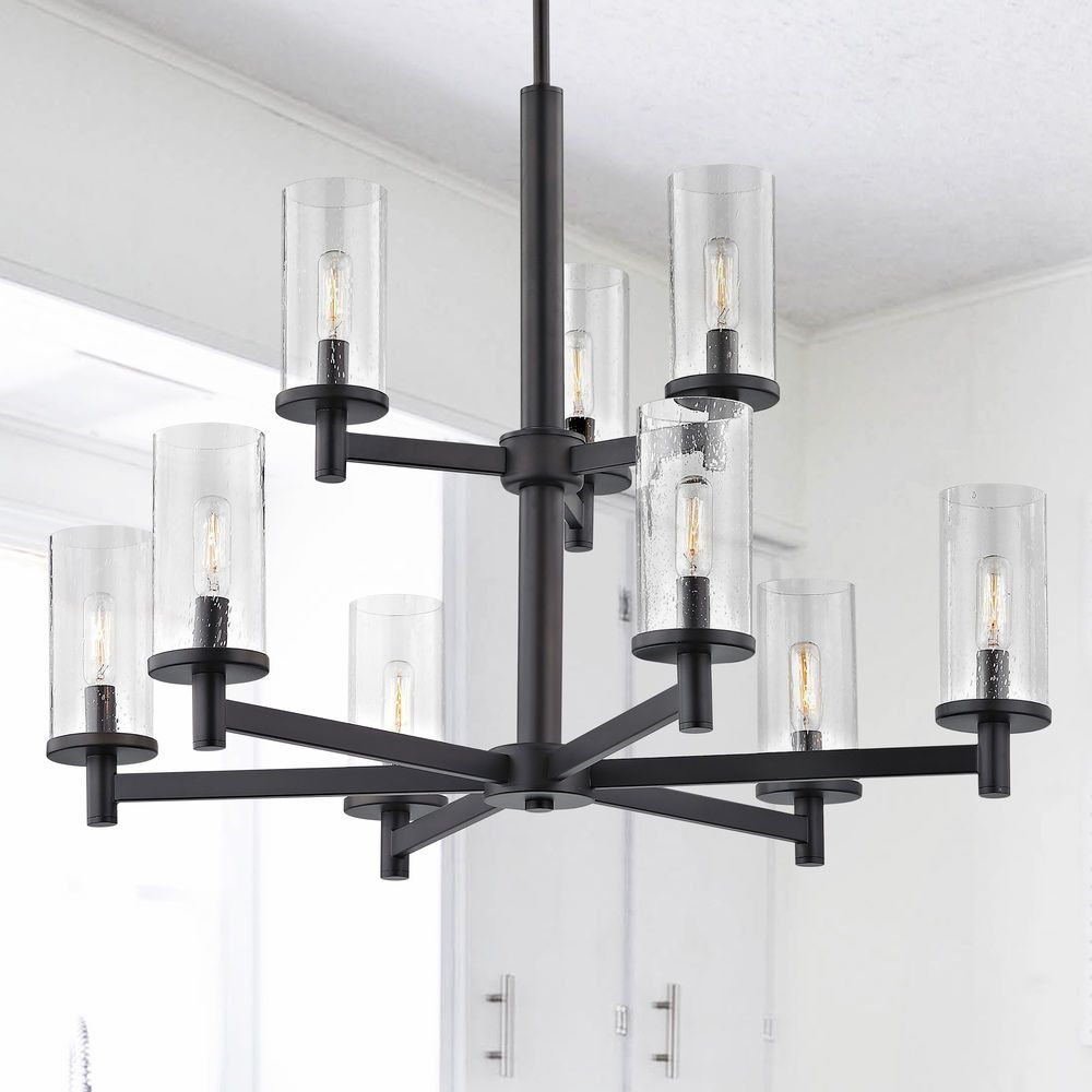 9 Light Modern Chandelier Seeded Glass Black At Destination Lighting In 2020 Modern Chandelier Black Chandelier Living Room Black Iron Chandelier