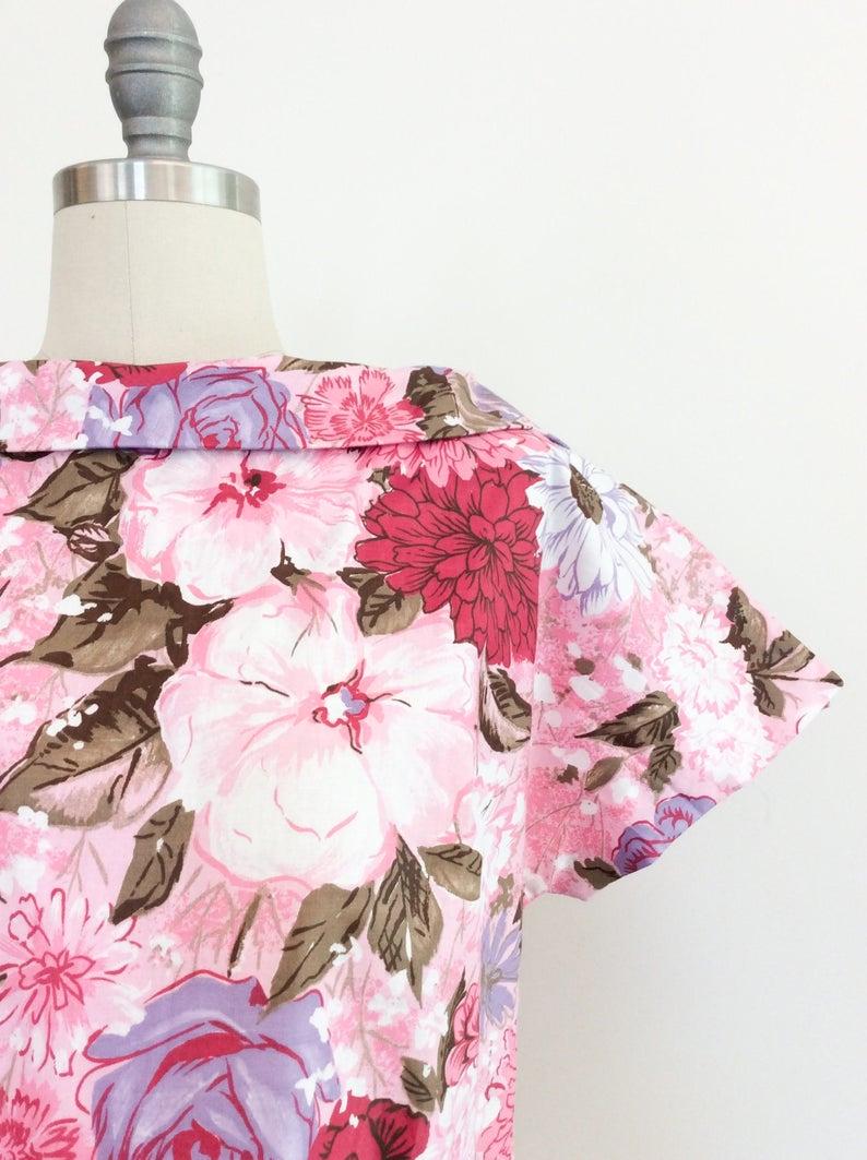 Vintage Pink Floral Blouse
