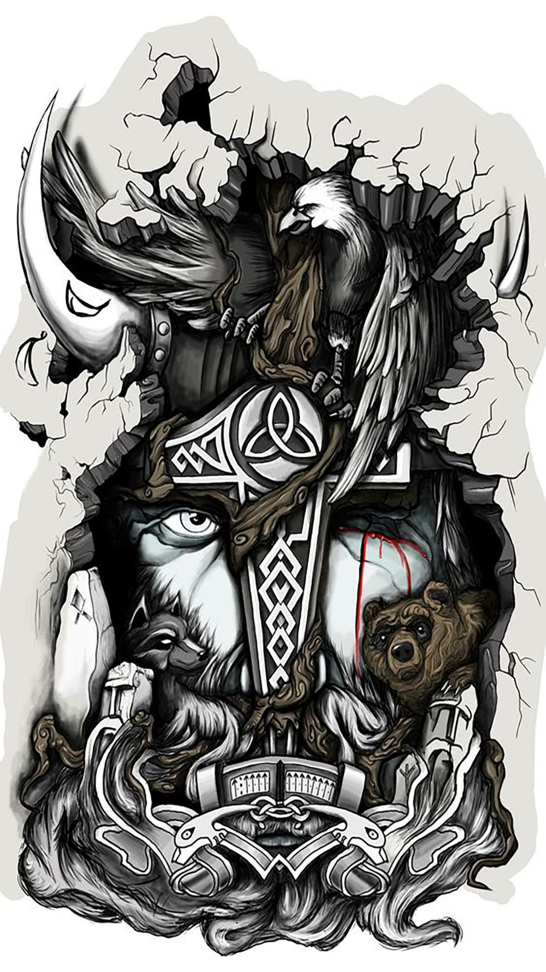 Pin By Crys Charbs On 3 Skullz Mythology Tattoos Norse
