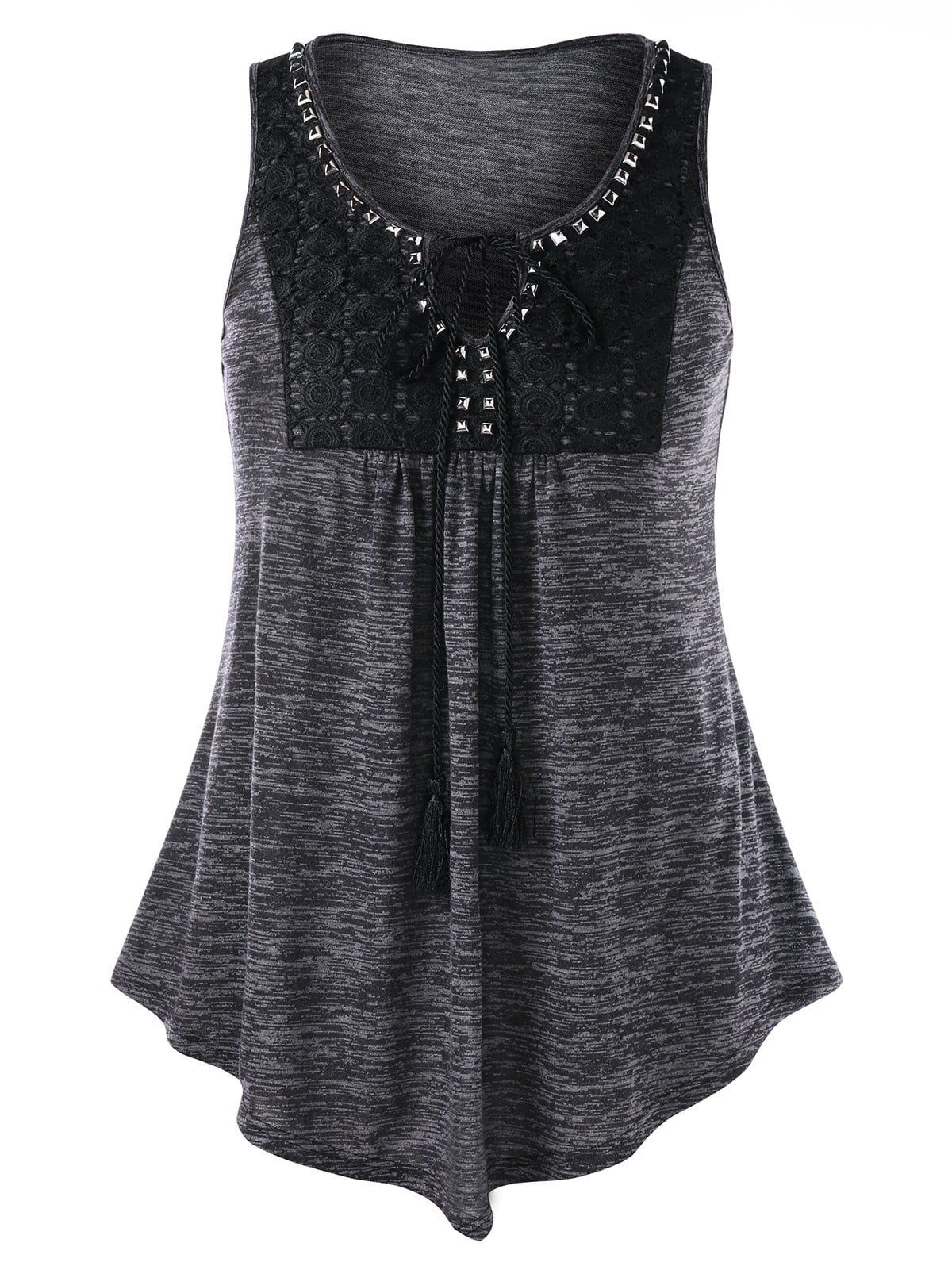 Plus Size Rivet Embellished Marled Tank Top Cheap tank