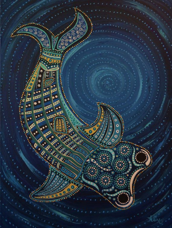 Whale painting original art folk art-beach theme- beach ...