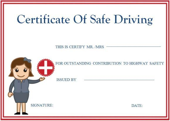 Safe Driving Certificates Safe Driving Certificate Template