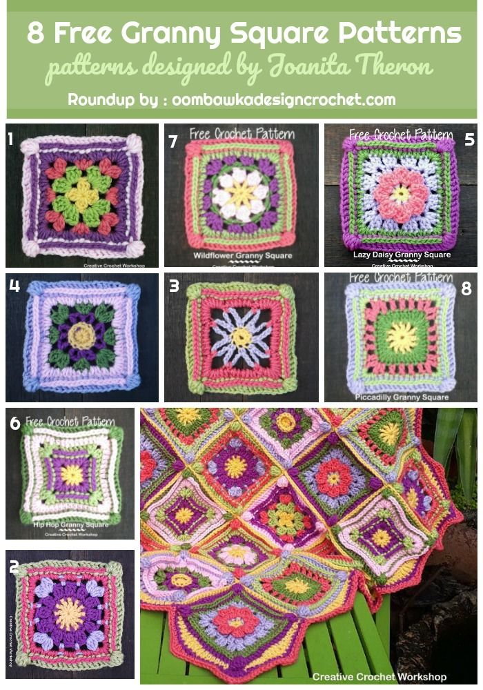 8 Free Granny Square Patterns | Granny squares, Dk weight yarn and ...