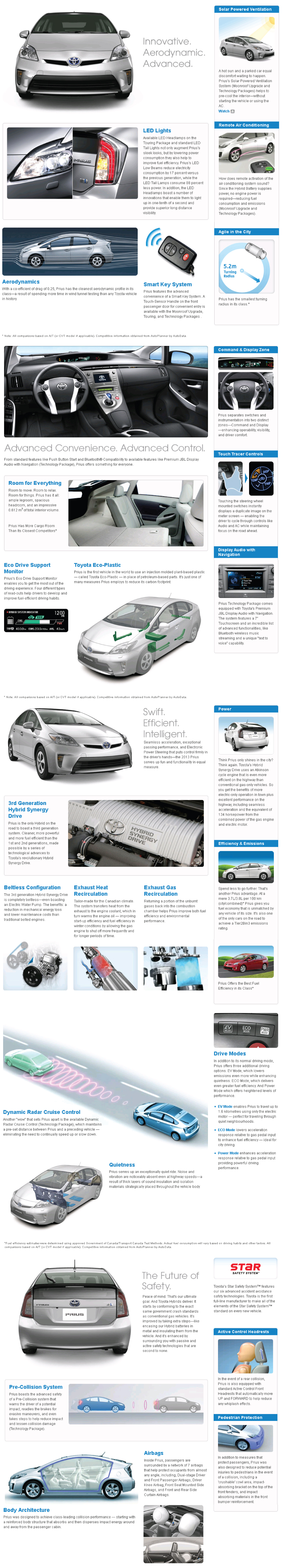 2013 Prius Features Toyota Prius Hybrid Car Prius
