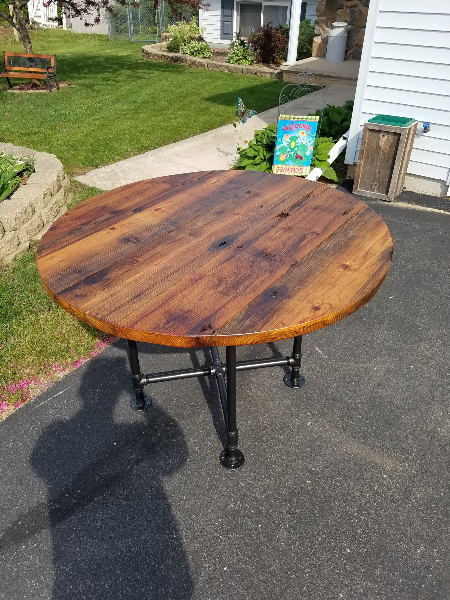 Farmhouse tables round kitchen table industrial dining