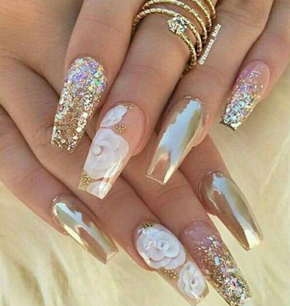 Chrome gold and white rose nails. | Nails | Pinterest | Rose nails ...