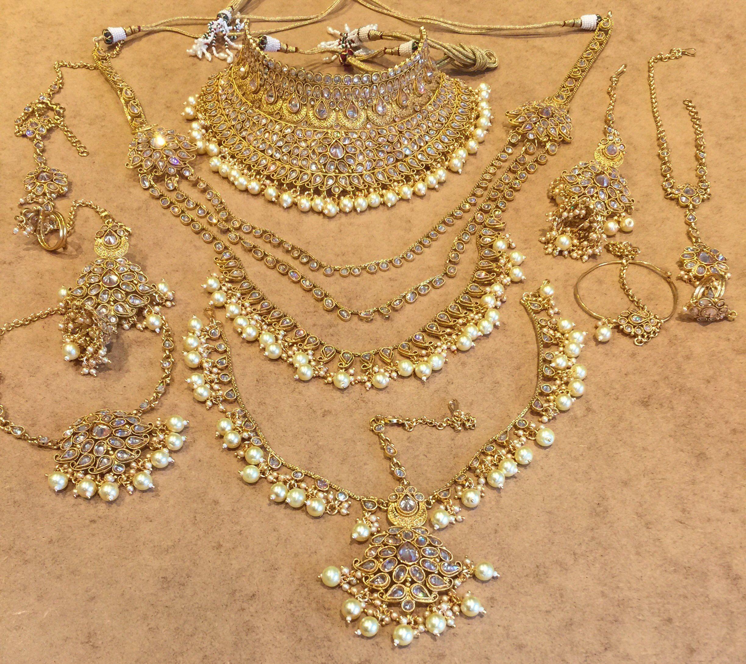 Indian Bridal Gold Pearl Crystal Wedding Jewellery Set Crystal Wedding Jewelry Boho Bridal Jewelry Designer Wedding Jewelry