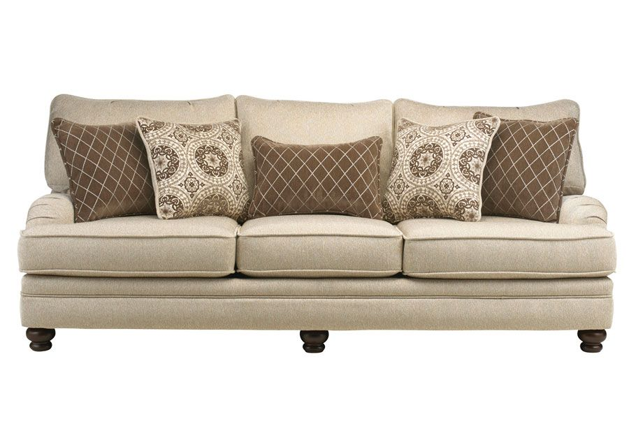 The Elegant Sofa Is Constructed Of A Hardwood Frame And Has Padded Arms And  Sides And A Back Covered In An Elegant, Light Mushroom Colored Fabric With  ...