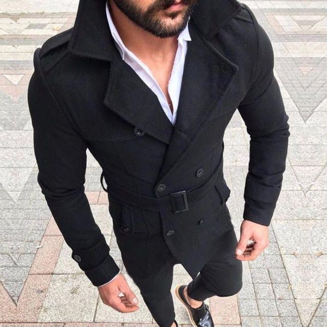 Men Double-Breasted Woolen Blazer Long Jacket Overcoat Outwear Warm Trench Coat