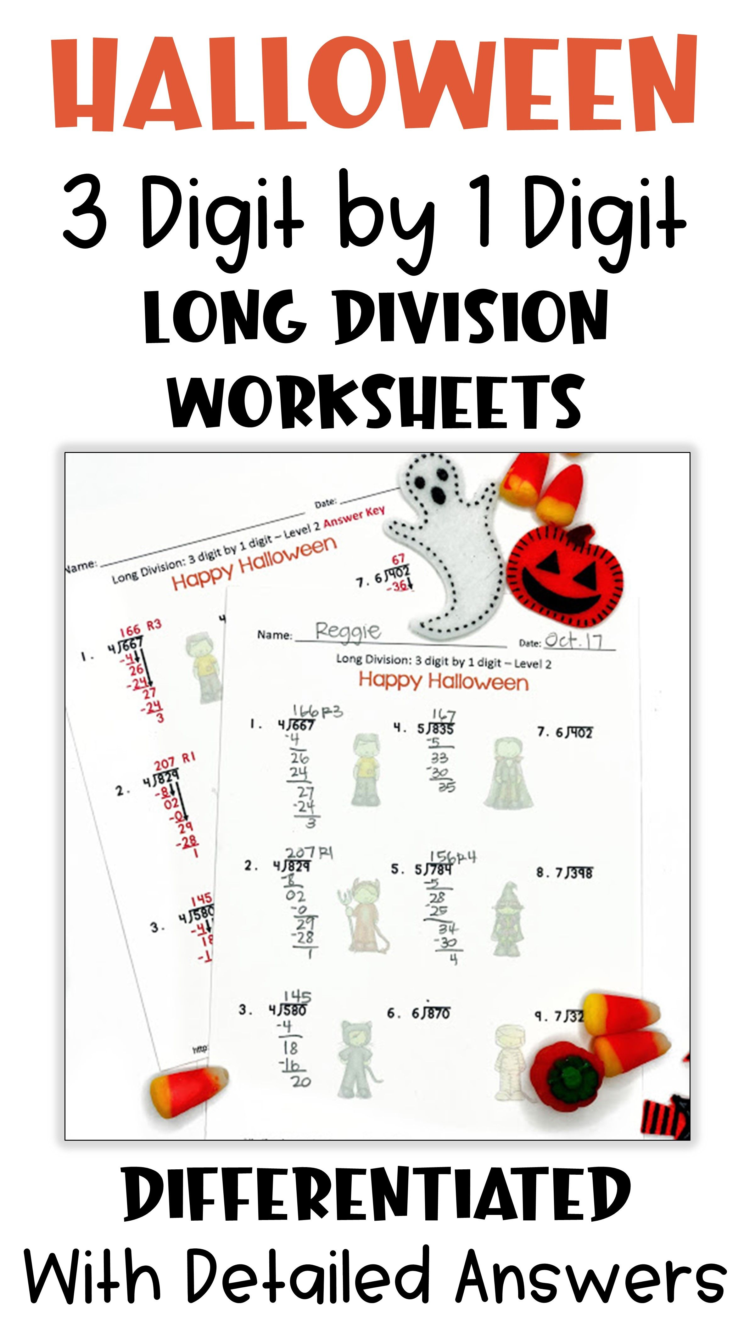 Halloween Math 3 Digit By 1 Digit Long Division Worksheets