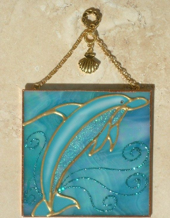 Dolphin Stain Glass Window Hanging Dolphin Wall Hanging Ornament