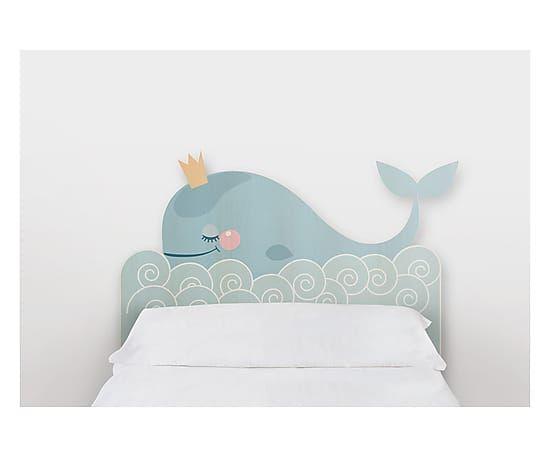 Testiera letto in legno di pino Whale, 105x115x5 cm Idee