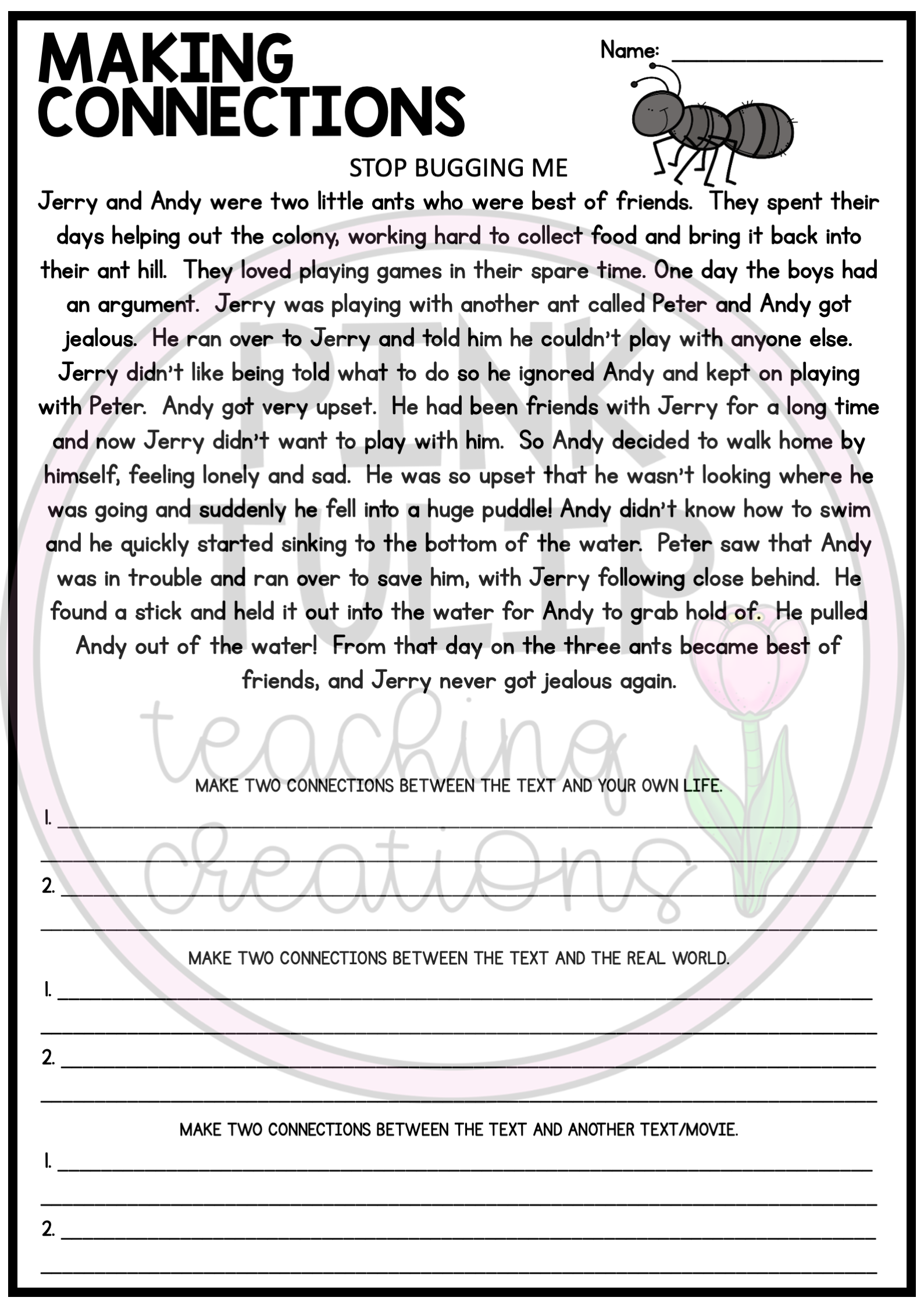 Making Connections Reading Worksheet Pack Text To Self Text To Self Connection Reading Worksheets [ 2249 x 1589 Pixel ]