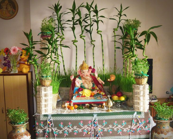 Ganpati Decoration Ideas For Home Mandir Decoration Eco