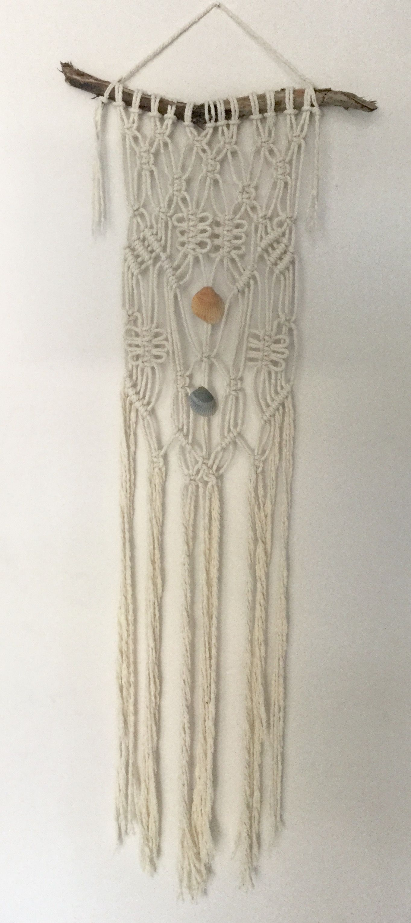Driftwood Wall Hanging white macrame wall hanging on driftwood | yarn banner | wall decor