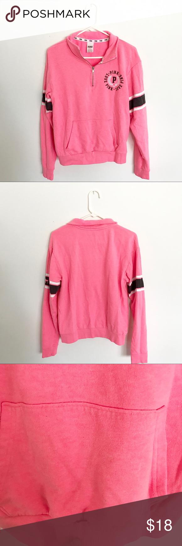 VS Pink Quarter Zip Sweatshirt Victoria's Secret Pink hot pink ...