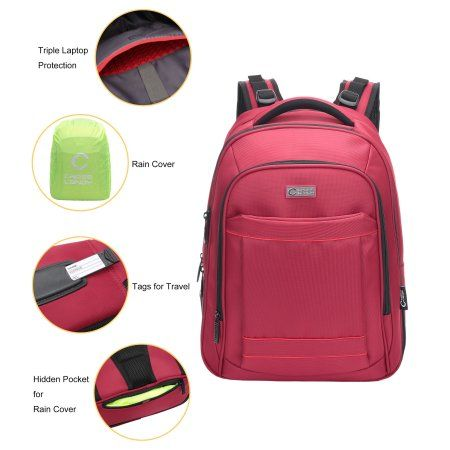 CrossLandy Red Inch Laptop Backpack For Adults Back To School Bookbag Student With Rain Cover