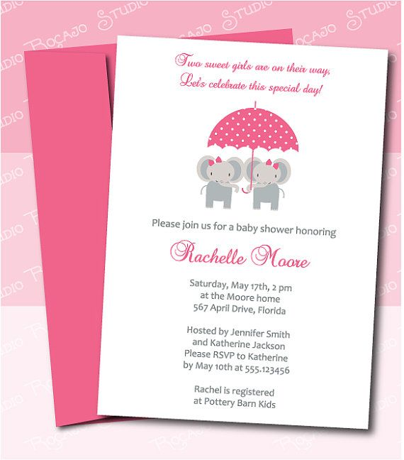 Twin Girls Baby Shower Invitation Elephants under Umbrella by