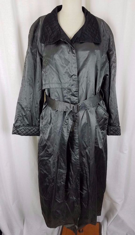 602e539a640d7 London Fog Silver Gray Metallic Quilted Insulated Trench Coat Womens 10  Cape Top  LondonFog