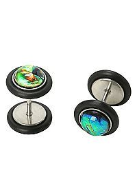 Hottopic Com Green Foil Faux Plug 2 Pack Body Jewelry Lip Ring Faux