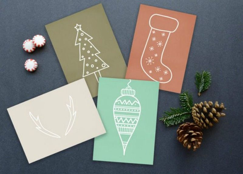 modern minimalist christmas and new years greetings card collection
