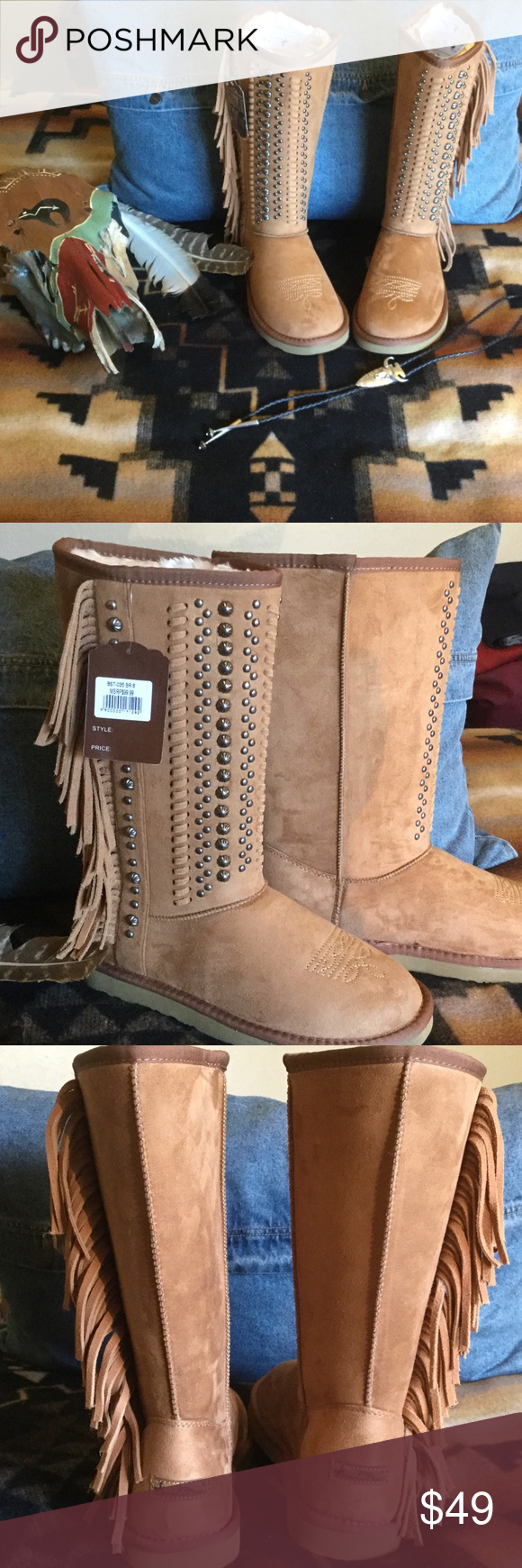 Montana West Boots Size 8 These gorgeous winter boots are tan with brass studs and fringe down the sides. I never wore them, because they were too big. They measure 12 1/2 inches from the sole, with a circumference of 17 inches at the top. Montana West Shoes Winter & Rain Boots