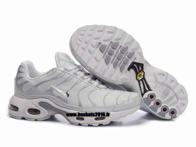 1bea60689e9 Nike Air Max Tn Requin Tuned 1 Chaussures Baskets2016 Pas Cher Pour Femme  Blanc Gris