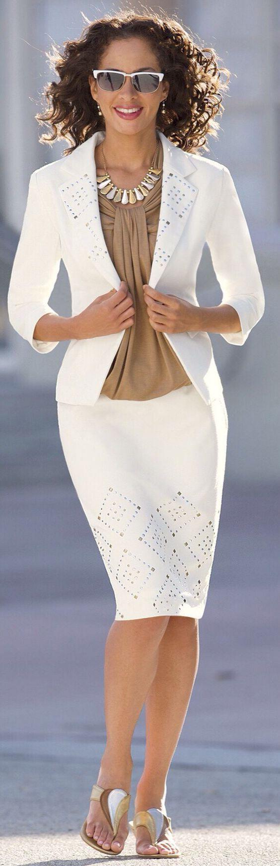 roressclothes clothing ideas #women fashion white pencil skirt ...