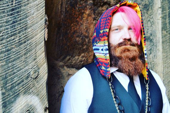 Aztec Lines Colorful Festival Hood, Soft Winter/ Fall Hood, Bright Inca Peruvian Hood