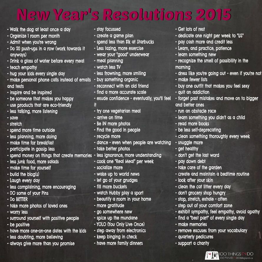 New Year's Resolutions 2015 New years resolution list